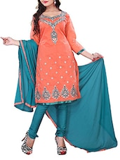 Pink Color  Embroidered Chanderi Cotton Un-Stitched Dress Material Without Inner-F170DL2009SU - By