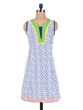 Blue Cotton Sleeveless Printed Kurti - By