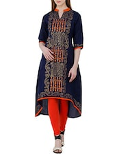 Blue Cotton Printed High Low Kurta - By