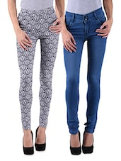 Grey And Blue Lycra Printed Jeans - By
