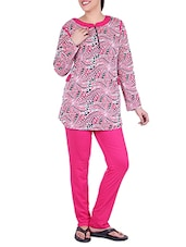 pink printed cotton nightwear set -  online shopping for nightwear sets