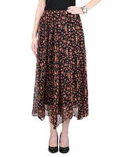 Red and Pink Flower Printed Poly Chiffon Skirt -  online shopping for Skirts