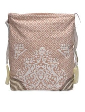 Beige And White Canvas Beaded Bag - By