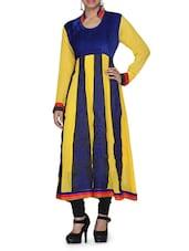 Yellow And Blue Resham Thread Work Kurti - By
