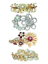 gold  Stone Embellished Hair Clip set of 4 -  online shopping for Hair accessories