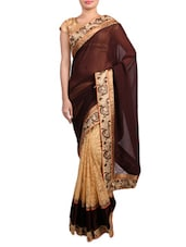 Beige And Brown Embroidered Georgette Saree - By