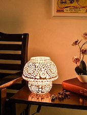 White And Pink Mosaic Glass Table Lamp - By