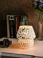 White And Silver Mosaic Glass Table Lamp - By