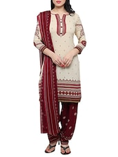 beige crepe printed unstitched suit -  online shopping for Unstitched Suits