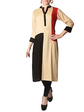 beige rayon long  kurta -  online shopping for kurtas