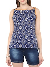 blue cotton straight top -  online shopping for Tops