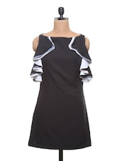 Black Poly Crepe Round Necked Dress