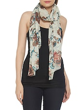 white floral woolen stole -  online shopping for stoles