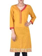 Yellow Manglagiri Cotton Solids Three Quarter Sleeves Kurti - By