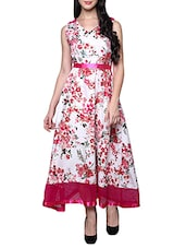 pink georgette floral printed gown -  online shopping for gowns
