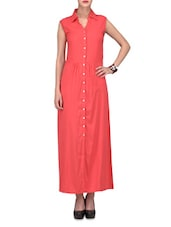 Coral Red Buttoned Cotton Rayon Maxi Dress - By