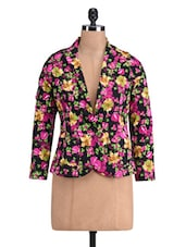 Multicoloured Cotton Satin Floral Print Jacket - By