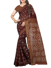 brown bandhani saree -  online shopping for Sarees