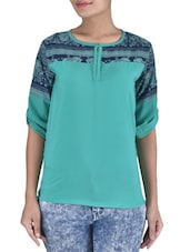 Green And Blue Polyester Printed Top - By