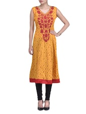Yellow And Red Cotton Blend Embroidered Kurti - By