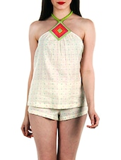Cream printed halter top and shorts set -  online shopping for Sets