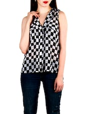 Monochrome printed sleeveless top -  online shopping for Shirts