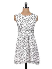 White Printed Poly Georgette Dress - By