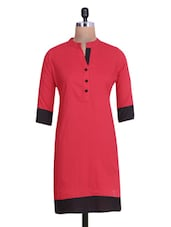 Red Cotton Kurta With Mandarin Collar - By