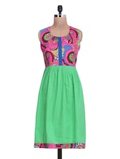 Printed Pink And Green Cotton A-Line Kurta - By