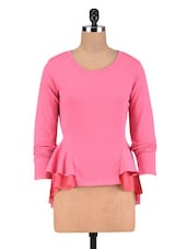 Pink Poly Cotton And Poly Georgette Frill Sweatshirt - By