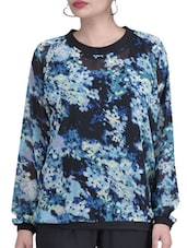 Blue Polycrepe Full Sleeves Printed Top - By