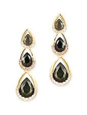 Black Metallic Studded Drop Earrings - By