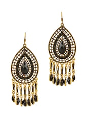 Black Metallic Embellished Drop Earrings - By
