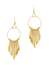 Golden Metallic Embellished Drop Earrings - By