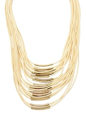 Beige And Gold Faux Leather Layered  Statement Necklace - By