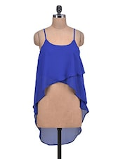 Royal Blue Poly-Georgette Hi-Lo Crop Top - By