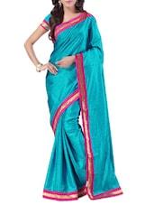 Blue Banarasi Silk Plain Saree - By