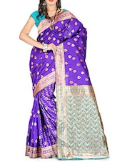 Purple Banarasi Silk Saree - By
