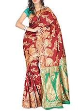 Maroon Banarasi Silk Saree - By - 1310024
