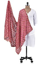 Pink Chiffon Embroidered Dupatta - By