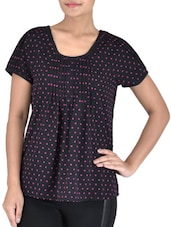 Black Polyester Polka Dots Print Top - By