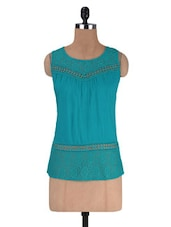 Blue Rayon And Lace Solid Sleeveless Top - By