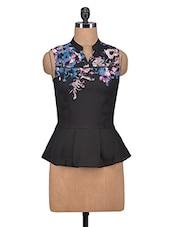 Black Georgette Printed Sleeveless Top - By