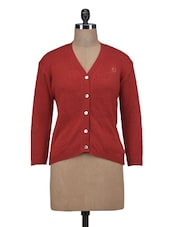 Red Wool Acrylic Solid Long Sleeved Cardigan - By