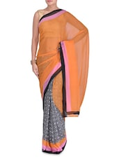 Orange Faux Georgette Printed Saree - By