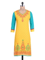 Yellow Cotton Printed Round Necked Kurti - By