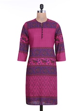 Pink Cotton Polka Dot Printed Kurti - By