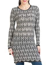 Black And White Viscose Printed Tunic - By