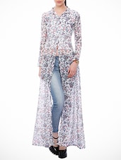 white floral georgette regular tunic -  online shopping for Tunics