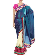 Embroidered Off-White And Dark Blue Jacquard Saree - By